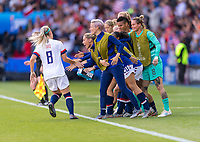 PARIS,  - JUNE 16: Julie Ertz #8 celebrates her goal with the bench during a game between Chile and USWNT at Parc des Princes on June 16, 2019 in Paris, France.