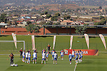 Players of the Netherlands are seen during a soccer training session in the Princess Magogo stadium in the township of Kwamashu in Durban June 18, 2010.REUTERS/Michael Kooren (SOUTH AFRICA) ...