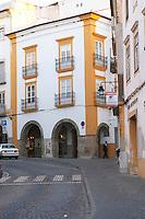 cobble stone street and houses evora alentejo portugal