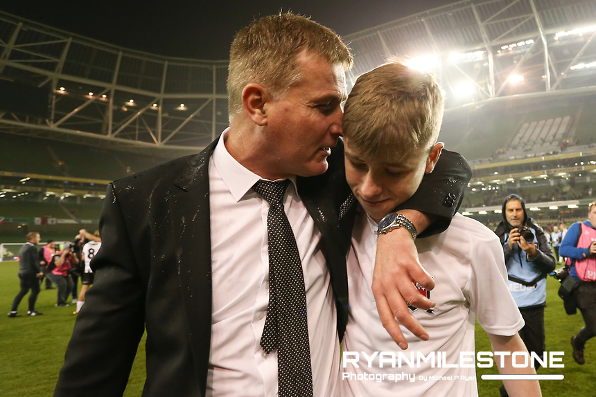 Stephen Kenny with son Fionn at the end of the  Irish Daily Mail FAI Cup Final between Dundalk and Cork City, on Sunday 4th November 2018, at the Aviva Stadium, Dublin. Mandatory Credit: Michael P Ryan.