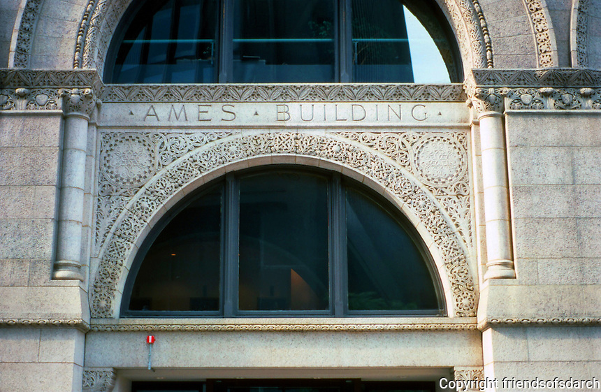 Boston:  Ames Building, 1889--detail.  Sullivanesque ornament. Shipley, Rutan & Coolidge.  Boston's first skyscraper.  Richardson Romanesque style.  National Register of Historic Places 1974. Renovated in 2009, now Ames Hotel.   Photo '88.