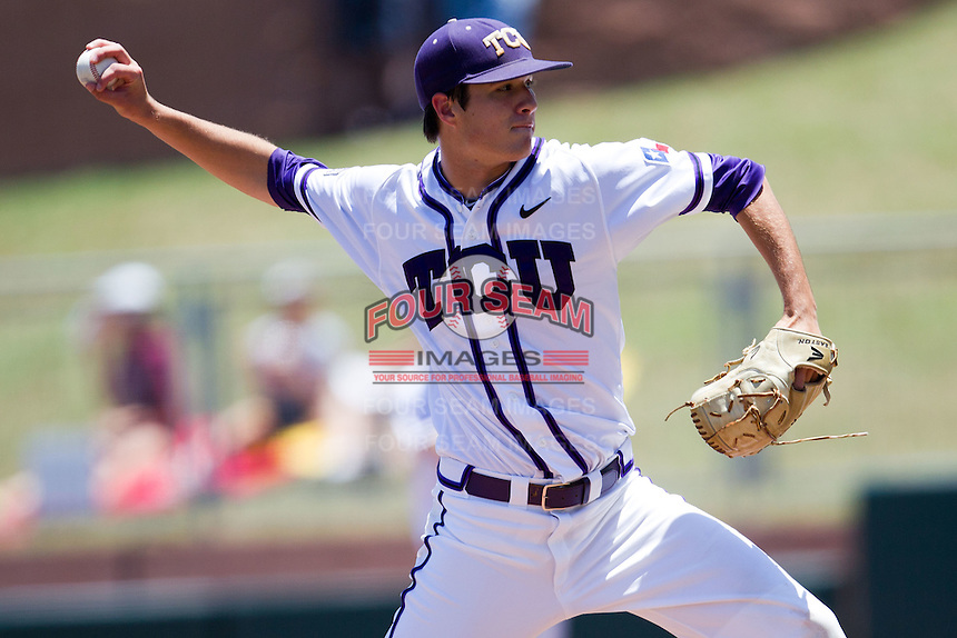 Pitcher Preston Morrison #18 of the Texas Christian University Horned Frogs delivers during the NCAA Regional baseball game against the Ole Miss Rebels on June 1, 2012 at Blue Bell Park in College Station, Texas. Ole Miss defeated TCU 6-2. (Andrew Woolley/Four Seam Images).