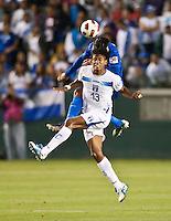 CARSON, CA – June 6, 2011: Honduras player Carlo Costly (13) heads the ball during the match between Guatemala and Honduras at the Home Depot Center in Carson, California. Final score Guatemala 0, Honduras 0.