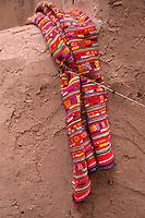 Morocco.  Berber Fabric, Ait Benhaddou Ksar, a World Heritage Site.