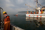 National Marine Fisheries Service, NMFS, marine, research scientists trawl net to monitor diseases of fish in Puget Sound, Skagit Bay, aboard the research vessel Harold W. Streeter