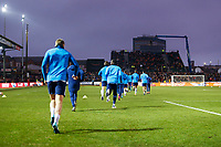 The Tottenham team enter the pitch to warm up prior to kick off of the Fly Emirates FA Cup Fourth Round match between Newport County and Tottenham Hotspur at Rodney Parade, Newport, Wales, UK. Saturday 27 January 2018
