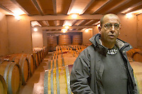 Marc Valette Domaine de Canet-Valette Cessenon-sur-Orb St Chinian. Languedoc. Barrel cellar. Owner winemaker. France. Europe.