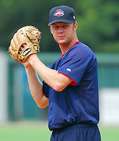 23 July 2007:  Brantley New of the Greenville Drive Monday night, at a game to honor the Spartanburg Peaches and the city's baseball history. The Drive played the Savannah Sand Gnats. Photo by:  Tom Priddy/Four Seam Images