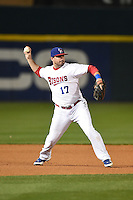 Buffalo Bisons third baseman Andy LaRoche (17) throws to first during a game against the Gwinnett Braves on May 13, 2014 at Coca-Cola Field in Buffalo, New  York.  Gwinnett defeated Buffalo 3-2.  (Mike Janes/Four Seam Images)