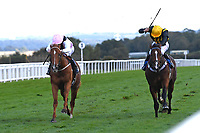 Winner of The Weatherbys TBA Conditions Stakes Apollo One  (pink) ridden by Martin Harley and trained by Peter Charalambousduring Horse Racing at Salisbury Racecourse on 1st October 2020