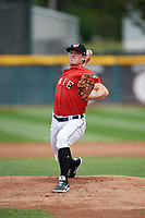 Erie SeaWolves starting pitcher Beau Burrows (33) delivers a warmup pitch during a game against the Hartford Yard Goats on August 6, 2017 at UPMC Park in Erie, Pennsylvania.  Erie defeated Hartford 9-5.  (Mike Janes/Four Seam Images)