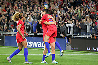 Saint Paul, MN - SEPTEMBER 03: Lindsey Horan #9 and Christen Press #23 of the United States celebrate during their 2019 Victory Tour match versus Portugal at Allianz Field, on September 03, 2019 in Saint Paul, Minnesota.