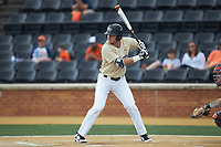 Michael Ludowig (22) of the Wake Forest Demon Deacons at bat against the Virginia Cavaliers at David F. Couch Ballpark on May 19, 2018 in  Winston-Salem, North Carolina. The Demon Deacons defeated the Cavaliers 18-12. (Brian Westerholt/Four Seam Images)