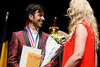 Second prize winner Valerio Lisci from Italy speaks with jury member Jana Bouskova after the awards ceremony of the 11th USA International Harp Competition at Indiana University in Bloomington, Indiana on Saturday, July 13, 2019. (Photo by James Brosher)
