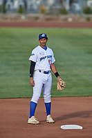 Raul Shah (16) of the Ogden Raptors during the game against the Grand Junction Rockies at Lindquist Field on June 5, 2021 in Ogden, Utah. The Raptors defeated the Rockies 18-1. (Stephen Smith/Four Seam Images)