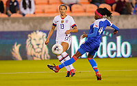 HOUSTON, TX - JANUARY 28: Lynn Williams #13 of the United States sends a cross ball into the box during a game between Haiti and USWNT at BBVA Stadium on January 28, 2020 in Houston, Texas.