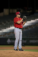 AZL Angels relief pitcher Tanner Chock (86) looks in for the sign during an Arizona League game against the AZL Indians 2 at Tempe Diablo Stadium on June 30, 2018 in Tempe, Arizona. The AZL Indians 2 defeated the AZL Angels by a score of 13-8. (Zachary Lucy/Four Seam Images)
