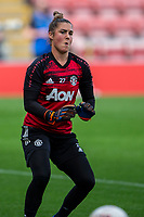 6th September 2020; Leigh Sports Village, Lancashire, England; Women's English Super League, Manchester United Women versus Chelsea Women; Goalkeeper Mary Earps of Manchester United Women during warm uo