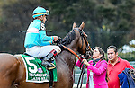 ELMONT, NY - OCTOBER 08: Lady Eli #5, ridden by Irad Ortiz, gets a kiss from Assistant Trainer Cherie DeVaix after her win in the Flower Bowl Invitational on Jockey Club Gold Cup Day at Belmont Park on October 8, 2016 in Elmont, New York. (Photo by Scott Serio/Eclipse Sportswire/Getty Images)