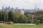 Parliament Hill Fields north London Skyline UK.