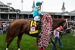 LOUISVILLE, KY - MAY 4:  Monomoy Girl, trained by Brad Cox, wins the 144 Kentucky Oaks at Churchill Downs on May 4, 2018 in Louisville, Kentucky. (Photo by Eric Patterson/Eclipse Sportswire/Getty Images)