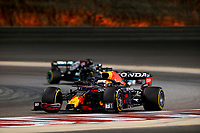 28th March 2021; Sakhir, Bahrain; F1 Grand Prix of Bahrain, Race Day;   33 Max Verstappen NED, Red Bull Racing takes the lead from Lewis Hamilton of Mercedes at the F1 Grand Prix of Bahrain at Bahrain International Circuit on March 28, 2021 in Sakhir, Bahrain.