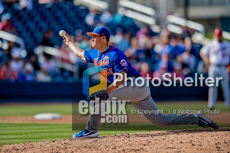 7 March 2019: New York Mets pitcher Paul Sewald on the mound during a Spring Training Game against the Washington Nationals at the Ballpark of the Palm Beaches in West Palm Beach, Florida. The Nationals defeated the visiting Mets 6-4 in Grapefruit League, pre-season play. Mandatory Credit: Ed Wolfstein Photo *** RAW (NEF) Image File Available ***