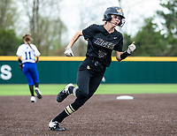 Alleyna Rushing (24) of Bentonville scores Bentonville's only run against Rogers at Rogers High School, Rogers, Arkansas, on Tuesday, April 6, 2021 / Special to NWA Democrat Gazette