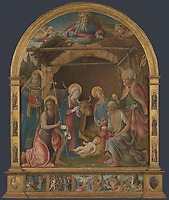 Full title: The Nativity with Saints Altarpiece<br /> Artist: Pietro Orioli<br /> Date made: probably about 1485-95<br /> Source: http://www.nationalgalleryimages.co.uk/<br /> Contact: picture.library@nationalgallery.co.uk<br /> <br /> Copyright © The National Gallery, London