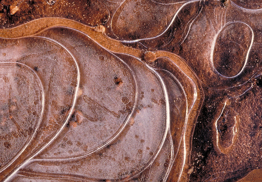 Pattern in thin ice, Nature closeup. Utah USA Arches National Park.