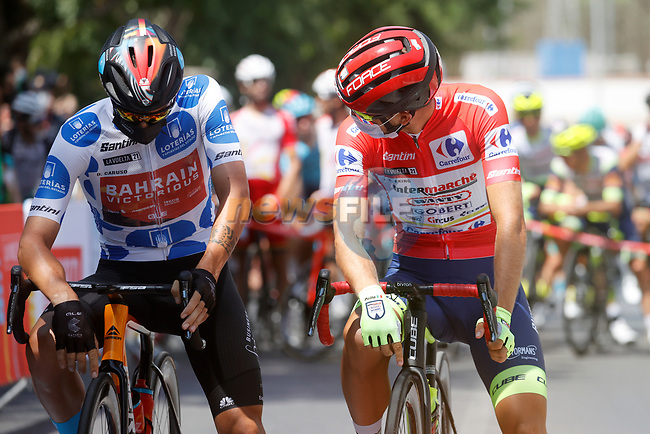 Polka Dot Jersey Damiano Caruso (ITA) Bahrain Victorious and Red Jersey Odd Christian Eiking (NOR) Intermarché-Wanty-Gobert Matériaux line up for the start of Stage 11 of La Vuelta d'Espana 2021, running 133.6km from Antequera to Valdepeñas de Jaén, Spain. 25th August 2021.     <br /> Picture: Luis Angel Gomez/Photogomezsport | Cyclefile<br /> <br /> All photos usage must carry mandatory copyright credit (© Cyclefile | Luis Angel Gomez/Photogomezsport)