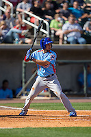 Elliot Soto (5) of the Tennessee Smokies at bat against the Birmingham Barons at Regions Field on May 3, 2015 in Birmingham, Alabama.  The Smokies defeated the Barons 3-0.  (Brian Westerholt/Four Seam Images)