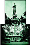In 1899 a group of Czechs visited the World Exhibition in Paris. The Eiffel Tower made such an impression that they wanted to have their own tower. Only two years later the 60 meter high replica was raised on the Petrin Hill in Prague. The tower offers a magnificent view of city, Prague, Czech Republic..