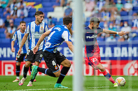 12th September 2021: Barcelona, Spain:  Yannick Carrasco of Atletico de Madrid shoots to score a goal for 1-1 in the 79th minute during the Liga match between RCD Espanyol and Atletico de Madrid at RCDE Stadium in Cornella, Spain.