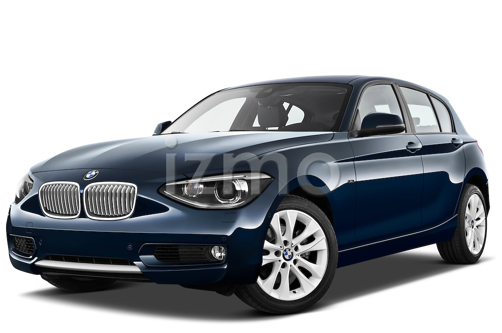 Low aggressive front three quarter view of a 2011 - 2014 BMW 118d 5 Door hatchback.