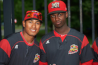 Batavia Muckdogs Jhonny Santos and Javier Lopez during an autograph signing before a game against the West Virginia Black Bears on August 20, 2016 at Dwyer Stadium in Batavia, New York.  Batavia defeated West Virginia 7-2. (Mike Janes/Four Seam Images)