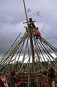 Lolgorian, Kenya. Siria Maasai moran men building the frame of the magic house; eunoto coming of age ceremony.