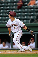 Left fielder Chris Schaedel (18) of the Elon Phoenix bats in a game against the Furman Paladins in a first-round Southern Conference playoffs game on Wednesday, May 22, 2013, at Fluor Field at the West End in Greenville, South Carolina. Furman won, 10-1. (Tom Priddy/Four Seam Images)
