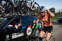 Anna van der Breggen (NED/SD Worx) playing super domestique in her very last pro race<br /> <br /> Women Elite - Road Race (WC)<br /> from Antwerp to Leuven (158km)<br /> <br /> UCI Road World Championships - Flanders Belgium 2021<br /> <br /> ©kramon