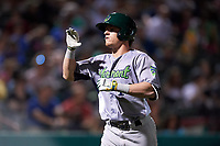 Vermont Lake Monsters designated hitter Anthony Churlin (10) returns to the dugout after hitting a home run in the top of the ninth inning during a game against the Tri-City ValleyCats on June 16, 2018 at Joseph L. Bruno Stadium in Troy, New York.  Vermont defeated Tri-City 6-2.  (Mike Janes/Four Seam Images)