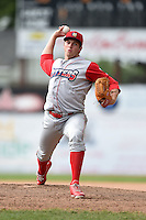 Williamsport Crosscutters pitcher Mitch Gueller (24) delivers a pitch during the first game of a doubleheader against the Batavia Muckdogs on July 29, 2014 at Dwyer Stadium in Batavia, New York.  Williamsport defeated Batavia 3-2.  (Mike Janes/Four Seam Images)