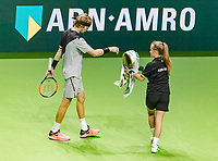 Rotterdam, The Netherlands, 16 Februari, 2018, ABNAMRO World Tennis Tournament, Ahoy, Tennis, Andrey Rublev (RUS) gets a towel from a ballgirl<br /> <br /> Photo: www.tennisimages.com