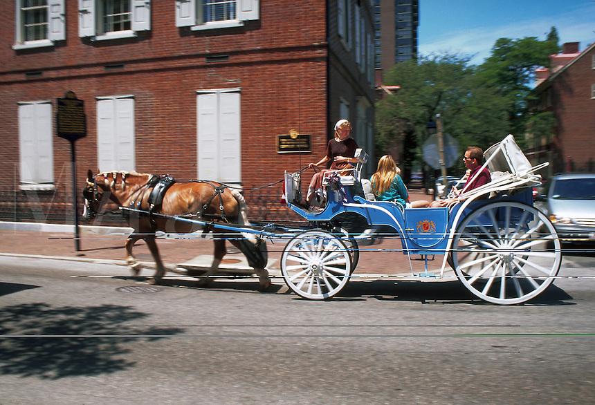 Tourists in horse carriage, Philadelphia, Pennsylvania