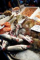 Fresh fish on fish stalls in the Rialto Market - Venice Italy