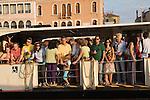 Venice Italy 2009. Tourism. Tourists on a Vaporetto