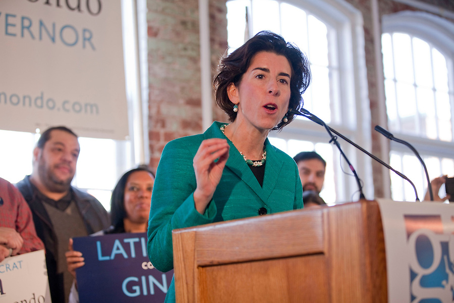 Raimondo for Governor Campaign/Mae Gammino<br /> <br /> Rhode Island General Treasurer Gina Raimondo, holds a rally in Pawtucket, RI on Monday, January 13, 2014, to formally announce the kickoff of her campaign for Governor.