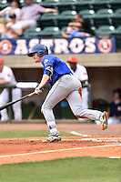 Kingsport Mets left fielder Ian Strom (20) swings at a pitch during a game against the Greeneville Astros at Pioneer Park on July 3, 2016 in Greeneville, Tennessee. The Mets defeated the Astros 11-0. (Tony Farlow/Four Seam Images)