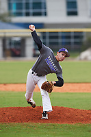 Daniel Munroe (5) of Pembroke Pines, Florida during the Baseball Factory All-America Pre-Season Rookie Tournament, powered by Under Armour, on January 13, 2018 at Lake Myrtle Sports Complex in Auburndale, Florida.  (Michael Johnson/Four Seam Images)