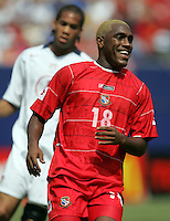July 24, 2005: East Rutherford, NJ, USA:  Panama's Luis Tejada (18) smiles after narrowly missing a goal during the CONCACAF Gold Cup Finals at Giants Stadium.  The USMNT won 3-1 on penalty kicks.