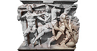 """Close up of a end of a Roman relief sculpted Hercules sarcophagus with kline couch lid, """"Columned Sarcophagi of Asia Minor"""" style typical of Sidamara, 250-260 AD, Konya Archaeological Museum, Turkey. Against a white background."""
